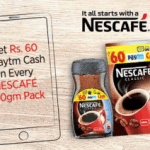 (*60rs Free paytm*)Paytm Nescafe Offer page-Get Rs.60 Free Paytm Cash on Every Pack of 50gm